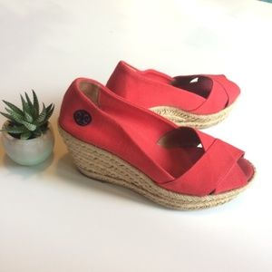 Tory Burch Red Size 7 Wedges Sandals Shoes